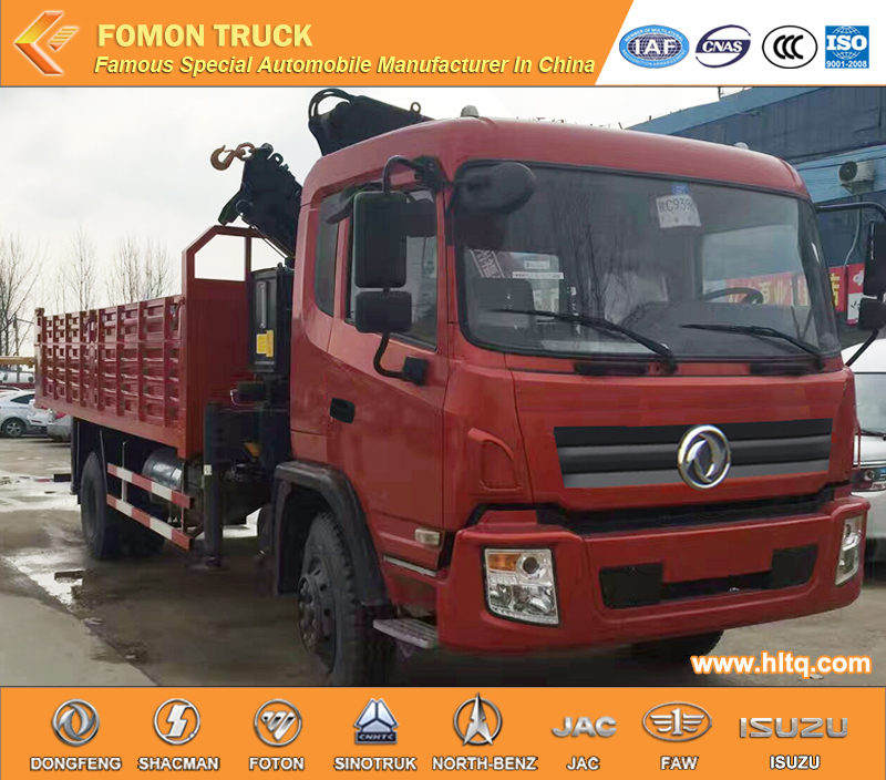 Dongfeng 4X2 190hp 8tons hydraulic folding telescopic arms crane with dump truck crane tipper truck