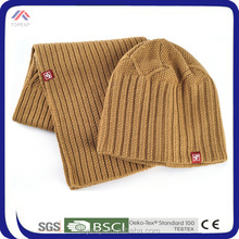 Striped Knitted Wool Beanie Hat With Scarf