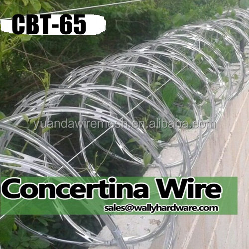 China factory BTO 65 x 45cm galvanized sharp BV security concertina razor wire fence