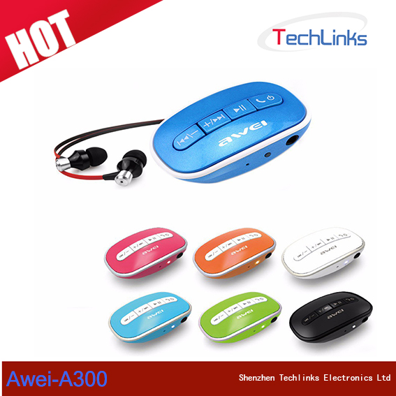Hot Sale Awei A300 Bluetooth Earphone mp3 players In-Ear Headphones Intelligent Control Bluetooth Stereo Headset
