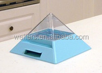 Pyramid shaped (blue) automatic plastic toothpick dispenser