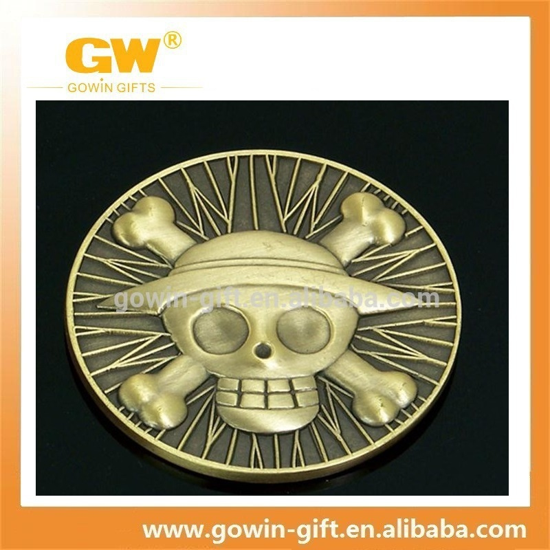 Shenzhen souvenir plated embossed custom metal pirate coins