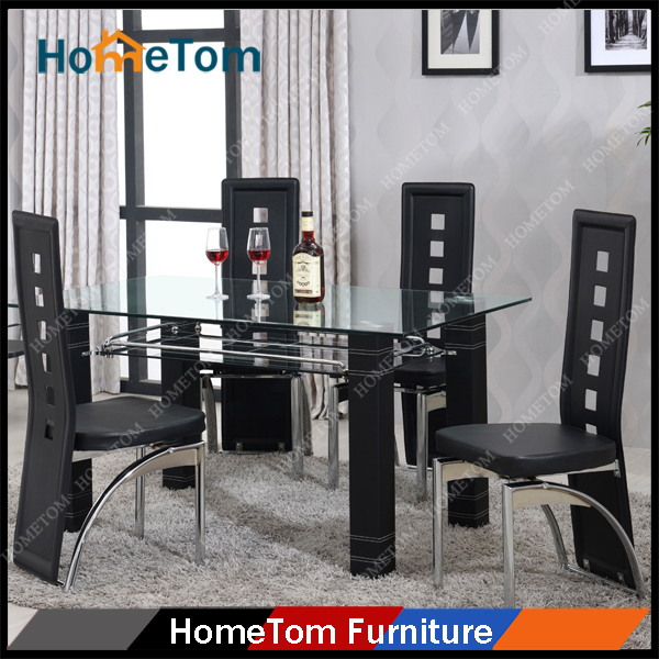 PVC Leather Covered Metal Legs Tempered Glass Top Dining Table