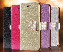 Gold Luxury Glitter Diamond PU Wallet Leather Case For Apple iPhone 6 Plus 5.5 inch With Card Slot Cover