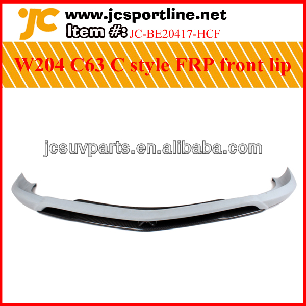 Unpainted FRP+black carbon front bumper lip for Mercedes Benz W204 C63 front lip auto front spoiler lip