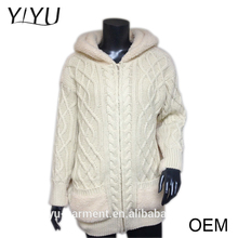 wholesale Korean fashion clothing ladies chunky hooded cable knit zip cardigan sweater