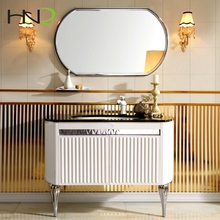 high end elegant pvc coating stainless steel used bathroom marble top sink vanity cabinet