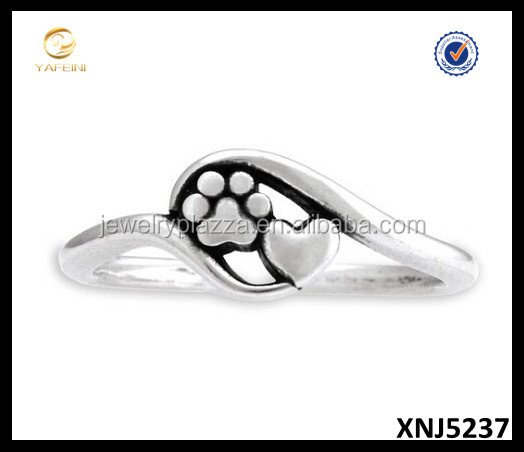 Sterling Silver Dog Ring, Heart and Dog Paw Print Ring, Puppy Silver Jewelry