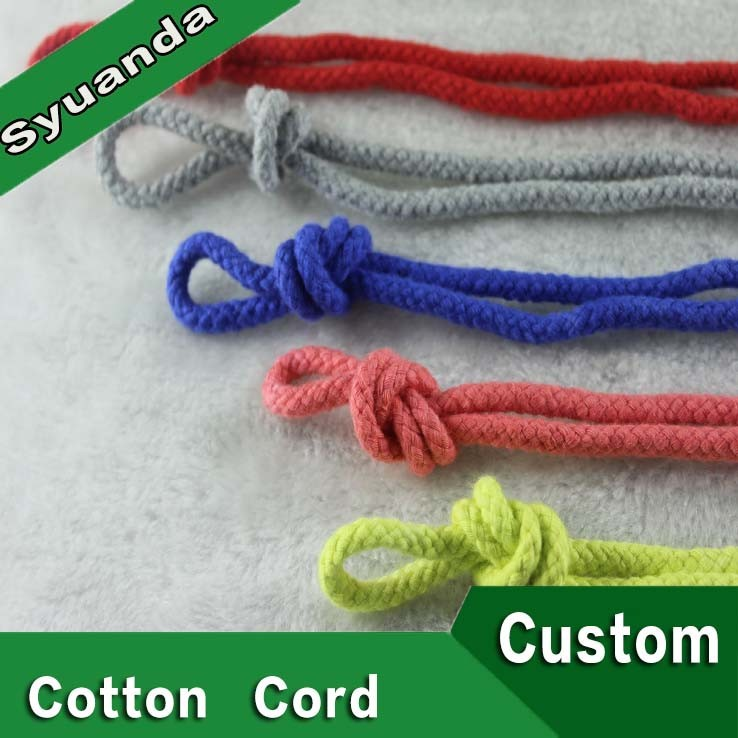 China Wholesale Braided Colored 5mm Round Cotton Cord