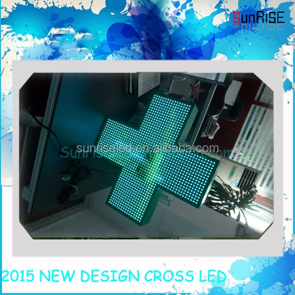 IP66 3D led cross by wifi control/3D High quality LED Pharmacy cross/Slim curved shape frame