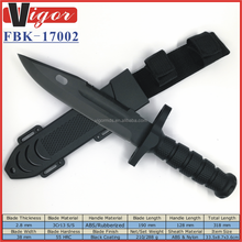 "(FBK-17002)12.5"" Black ABS Rubberized Handle Fixed Blade Tactical Survival Combat Fighting Hunting Sheath Knife"