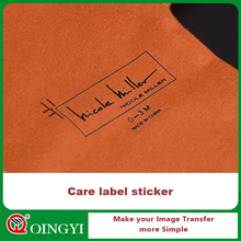 QingYi customized heat transfer sticker for wash care label