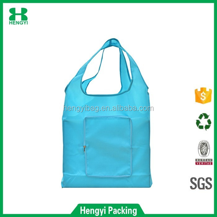 Reusable Grocery Shopping Bag / Folding Travel Recycle Bag Ripstop Nylon Tote Bag Foldable Integrated Pouch
