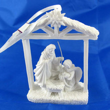 White christmas nativity figures hanging ornament nativity set