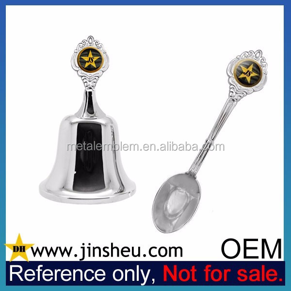 Wholesale Quality Custom Logo Silver Souvenir Spoons and Dinner Bell Set