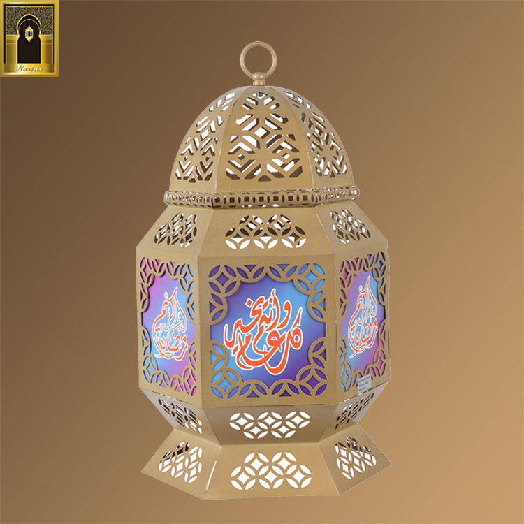 Different specifications large style dubai handmade arabic glass metal lantern islamic moroccan candle holder