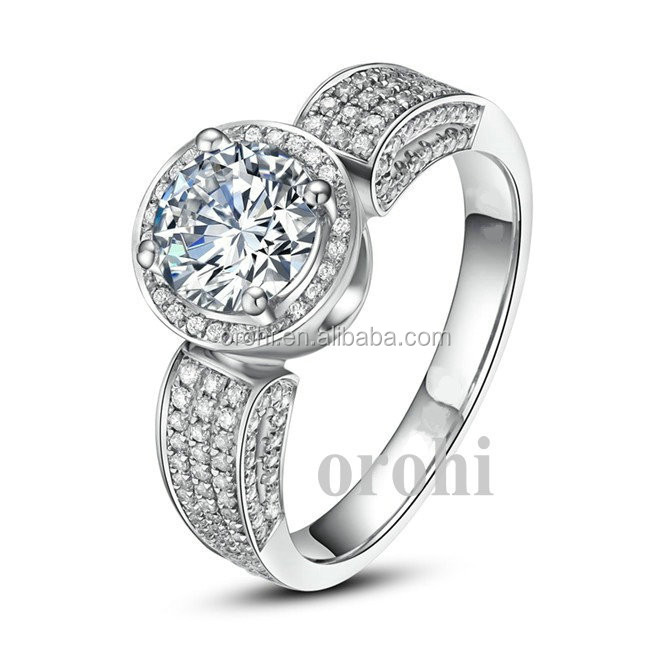 Beautiful Women Micro Pave Setting 925 Silver Ring Base with Shiny Big Diamond from China Supplier