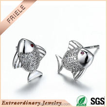 Friele Cute little fish shaped earring animal earring 925 sterling silver jewelry
