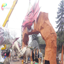 amusement park fiberglass dinosaur door with a dino head