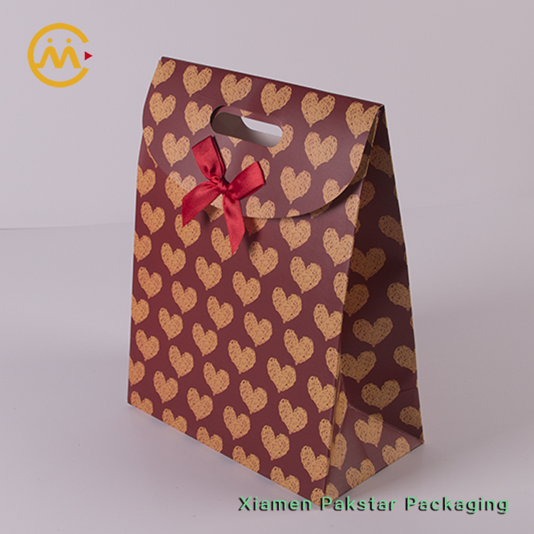 Self adhesive Hearts printed treat favor Valentines gift bag with red bow decorative and Velcro closure