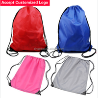 Sports men and women polyester backpack drawstring pouch bags waterproof folding customized