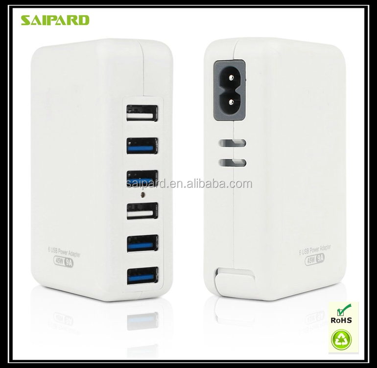 OEM travel 6 port usb smart wall charger