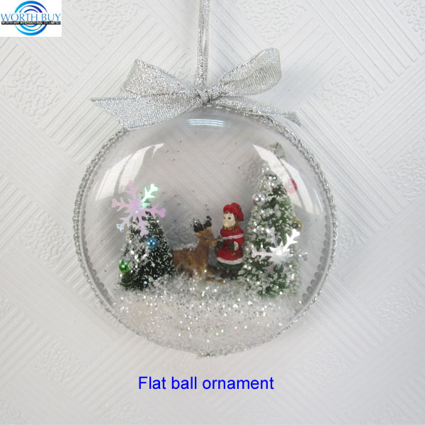 Flat clear plastic Christmas ball ornament w/ snowing Christmas scene