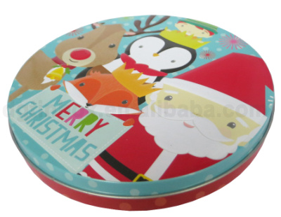 round shape cookie tin box/ chrismas gift cookie tin box