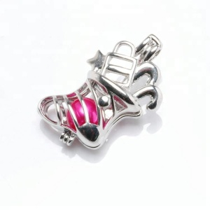 Women Polished Christmas socks Bead Cage Pendant within freshwater pearl