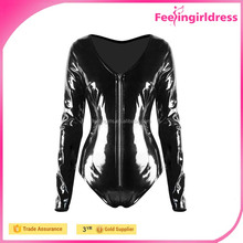 Hot selling women long sleeve zipper front o neck black leather bodysuit