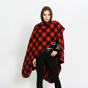 SF17223241 Women Poncho Imitation Cashmere Scarf Cape Plaid Autumn Winter Check Blanket Scarf red black white