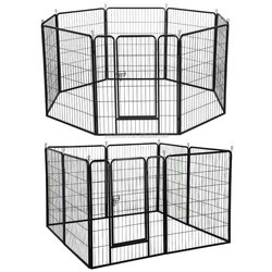 "48""/40""/32""/24"" High 8 Panels Pet Playpen Dog Pets Fence Exercise Pen Gate with Door"