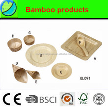 Disposable Bamboo Plate, bamboo cone, bamboo spoon and bamboo cup