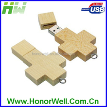 Fashion Design OEM Wooden Cross Stick USB Flash Drive 8GB 16GB 32GB