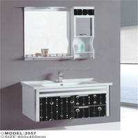New wall mounted pvc french knock down bathroom vanity cabinet with side cabinet