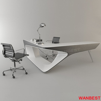 Fancy Artificial Stone Office Executive Boss Writing Desk Study Room Table Set