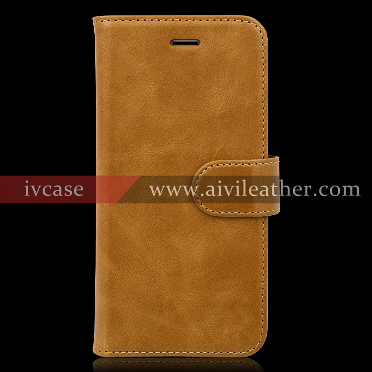 Popular Cognac Brown Grain Cow Genuine Leather Wallet Case for iphone 7 mobile phone cases