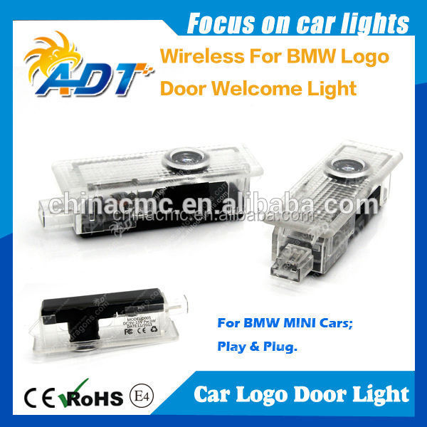 New wireless plug and play LED auto door laser logo light for bmw logo
