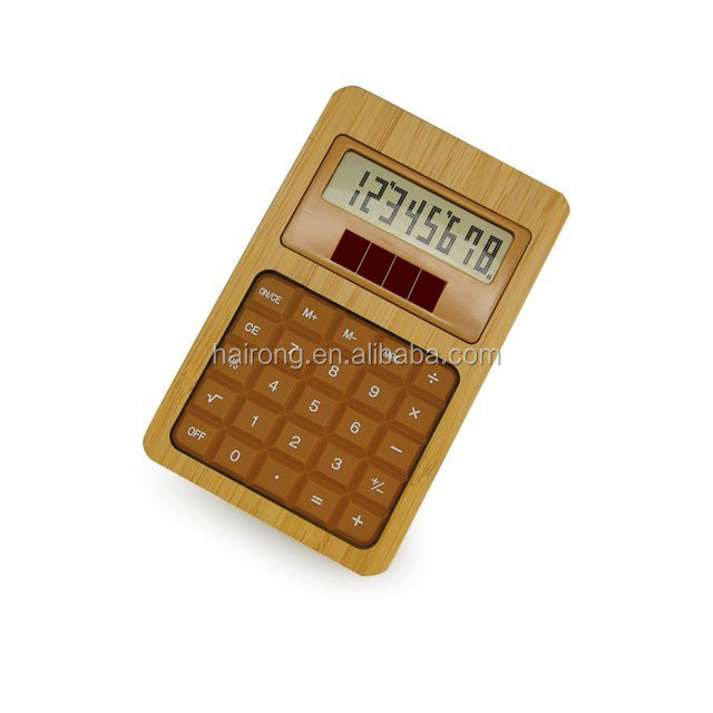 2014 Hairong hot sale bamboo wooden big digit calculator with solar