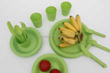 Children Kids Plastic Plates Mugs travel cutlery set 24 with case
