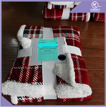 China factory High Quality Cheap super soft thick plaid plush printed sherpa fleece blanket