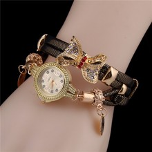 fashion ladies bracelet watch in Europea and America bow retro winding watch