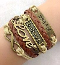 Leather Bracelet, Fashion Believe Love Faith 8 Jewelry PU Stingray Leather Bracelet, Bracelet Jewelry Wholesale PT2156