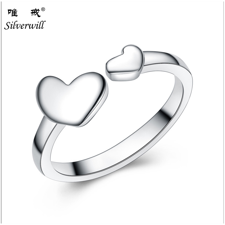 Popular silver ring valentine simple double hearts open ring stamped 925