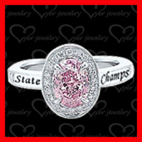 925 sterling silver jewelry silver class ring with hand setting CZ stones