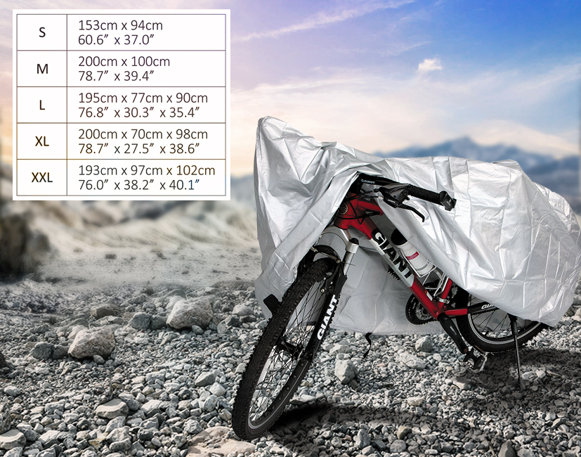 easy fold waterproof silver polyester mountain bicycle cover