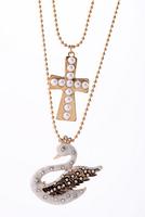 Rhinestone Artificial Jewellery Brands Pearl Cross Enamel Swan Pendant Necklace