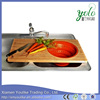 Bamboo solid Chopping Board with Silicone Collapsible Colander kitchen usage