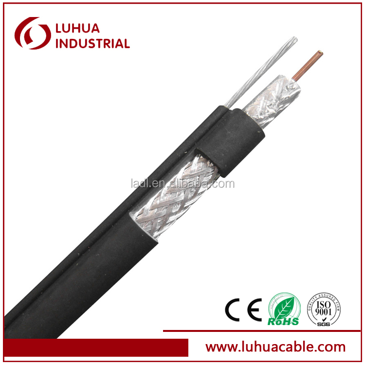 RG11 coaxial cable with Messenger Suitable for RF signal transmission MATV CE RoHS ISO9001 approved