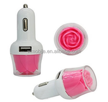 Rose Flower 5V/2.1A Rapid Charge Portable Dual USB Car Travel Charger Cigarette Adapter